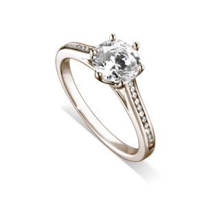 Splendide : Bague de fiançailles en or rose 18k, six griffes, cathédrale et sertie diamants G/VS. Épaules serties rail 24 diamants G/VS total 0.11 carats.
