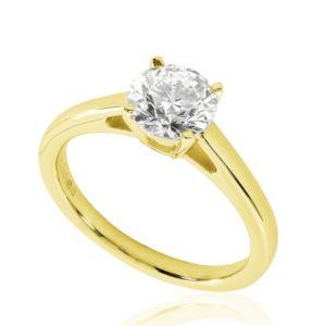 Belle : Bague de fiançailles en or jaune 18k, solitaire diamant à cathédrale et panier. Production et livraison en 18 à 4 jours ouvrés.