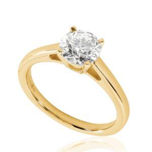 Belle : Bague de fiançailles en or rose 18k, solitaire diamant à cathédrale et panier. Production et livraison en 18 à 4 jours ouvrés.