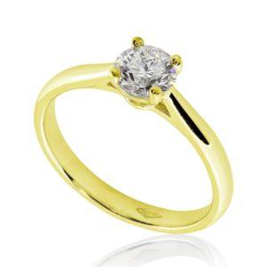 Féminine : Bague de fiançailles en or jaune 18k, solitaire à cathédrale et panier . Production et livraison en 7 à 4 jours ouvrés.