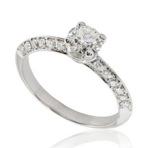 Bague de fiançailles micropavée, diamant 0.51ct G SI1 taille Excellente, taille 50. Épaules et griffes pavées, serti grain 40 diamants H/SI total 0.29 carats.