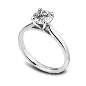 Élégante : Bague de fiançailles en platine, solitaire diamant à cathédrale. Production et livraison en 18 à 4 jours ouvrés.