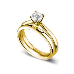 Ravissante : Bague de fiançailles solitaire quatre griffes classique en or jaune 18k. Production et livraison en 18 à 4 jours ouvrés.