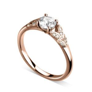 Florissante : Bague de fiançailles en or rose 18k avec feuilles serties de diamants. Feuilles serties grains 16 diamants G/VS.