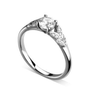 Florissante : Bague de fiançailles en platine avec feuilles serties de diamants. Feuilles serties grains 16 diamants G/VS.