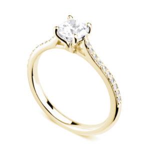 Luxuriante : Bague diamant en or jaune 18k aux épaules serties et cathédrale. Épaules serties grains 20 diamants G/VS total 0.08 carats.