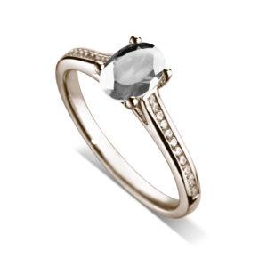 Ovale : Bague diamant en or rose 18k, cathédrale et sertie diamants G/VS. Épaules serties rail 24 diamants G/VS total 0.11 carats.