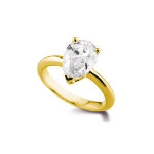 Poire Classique : Bague diamant en or jaune 18k. Production et livraison en 18 à 4 jours ouvrés.