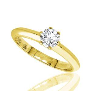 Distinguée : Bague de fiançailles en or jaune 18k, solitaire diamant à six griffes. Production et livraison en 7 à 4 jours ouvrés.
