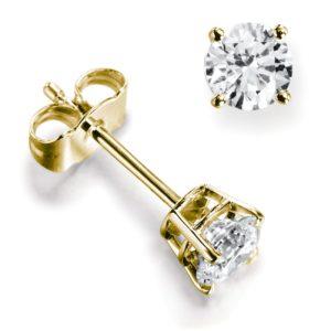 Belles : Boucles d'oreilles diamant en or jaune 18k, quatre griffes et panier. Production et livraison en 18 à 4 jours ouvrés.