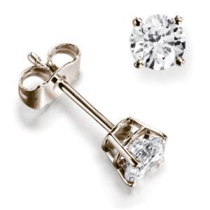 Belles : Boucles d'oreilles diamant en or rose 18k, quatre griffes et panier. Production et livraison en 18 à 4 jours ouvrés.