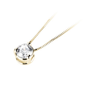 Eclatant : Pendentif diamant en or jaune 18k trois griffes, chaîne en or incluse. Production et livraison en 10 à 5 jours ouvrés.