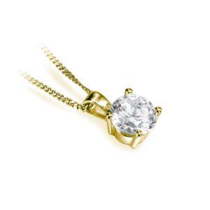 Brillant : Pendentif diamant solitaire en or jaune 18k, chaîne en or incluse. Production et livraison en 18 à 4 jours ouvrés.