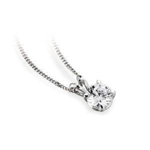 Ravissant : Pendentif diamant solitaire en platine, chaîne en or incluse. Production et livraison en 18 à 4 jours ouvrés.