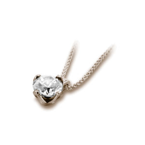 Sublime : Pendentif diamant solitaire en or rose 18k, chaîne en or incluse. Production et livraison en 18 à 4 jours ouvrés.