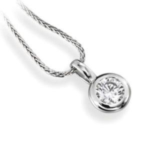 Subtil : Pendentif diamant en platine serti clos, chaîne en or incluse. Production et livraison en 10 à 5 jours ouvrés.