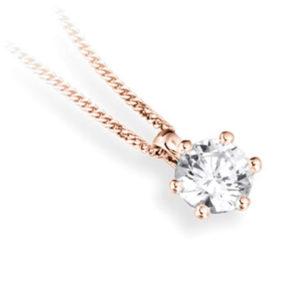 Superbe : Pendentif diamant en or rose 18k six griffes, chaîne en or incluse. Production et livraison en 10 à 5 jours ouvrés.
