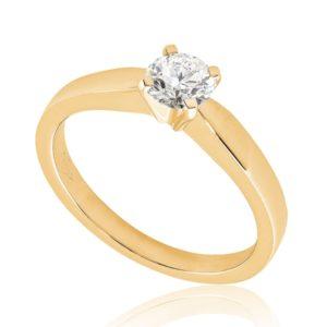 Moderne : Solitaire diamant en or rose 18k, quatre griffes . Production et livraison en 7 à 4 jours ouvrés.