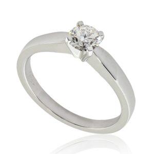 Moderne : Solitaire diamant en platine, quatre griffes . Production et livraison en 7 à 4 jours ouvrés.