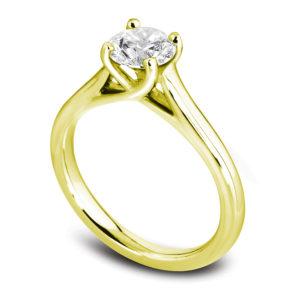 Raffinée : Solitaire diamant en or jaune 18k, cathédrale et quatre griffes en treillis. Production et livraison en 18 à 4 jours ouvrés.