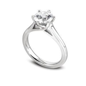 Jolie : Solitaire diamant en or blanc 18k, cathédrale et six griffes en treillis. Production et livraison en 18 à 4 jours ouvrés.