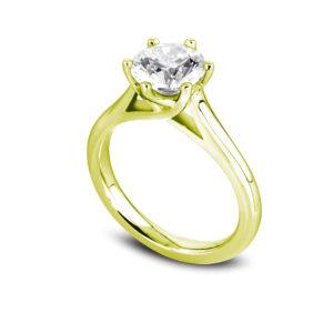 Jolie : Solitaire diamant en or jaune 18k, cathédrale et six griffes en treillis. Production et livraison en 18 à 4 jours ouvrés.