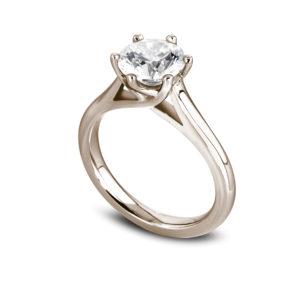 Jolie : Solitaire diamant en or rose 18k, cathédrale et six griffes en treillis. Production et livraison en 18 à 4 jours ouvrés.