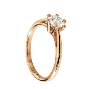 Merveilleuse : solitaire diamant, bague à six griffes et cathédrale en or rose 18k. Production et livraison en 7 à 4 jours ouvrés.