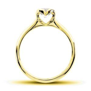 Romantique : Solitaire diamant en or jaune 18k, au chaton formant un coeur. Production et livraison en 7 à 4 jours ouvrés.
