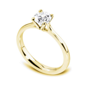 Naturelle : Solitaire diamant en or jaune 18k à quatre griffes et cathédrale. Production et livraison en 7 à 4 jours ouvrés.