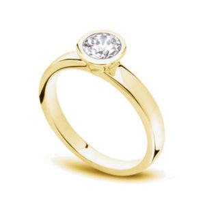 Unique : Solitaire diamant en or jaune 18k serti clos. Production et livraison en 7 à 4 jours ouvrés.